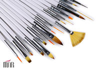 Cosmetic 18 Piece Flat Nail Art Brushes For Makeup / Nail Art Fan Brush