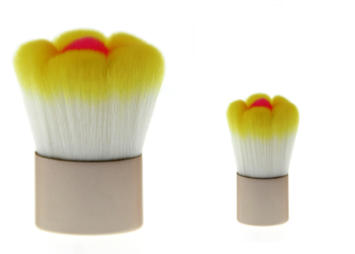 Bicolor Flower Shapes Powder Flat Top Kabuki Brush Plastic Handle