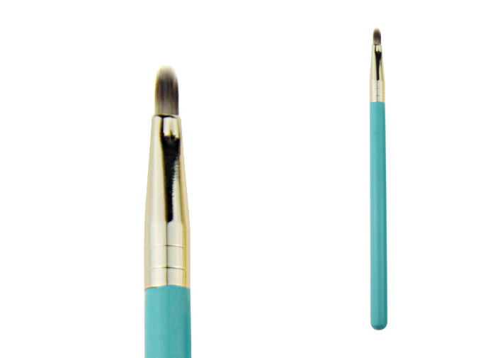 Gold Aluminum Ferrule Fiber Lip Synthetic Makeup Brushes With Blue Wooden