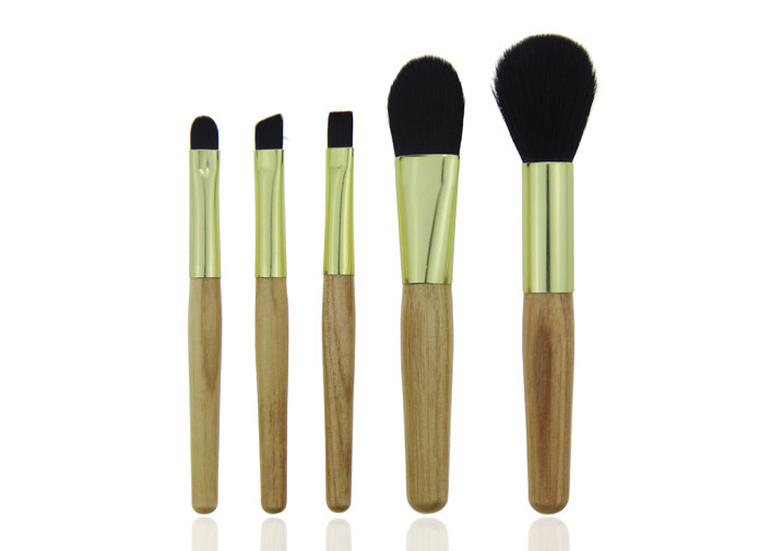 Black Synthetic Hair Golden Ferrule Travel Size Makeup Brushes Wooden Handle