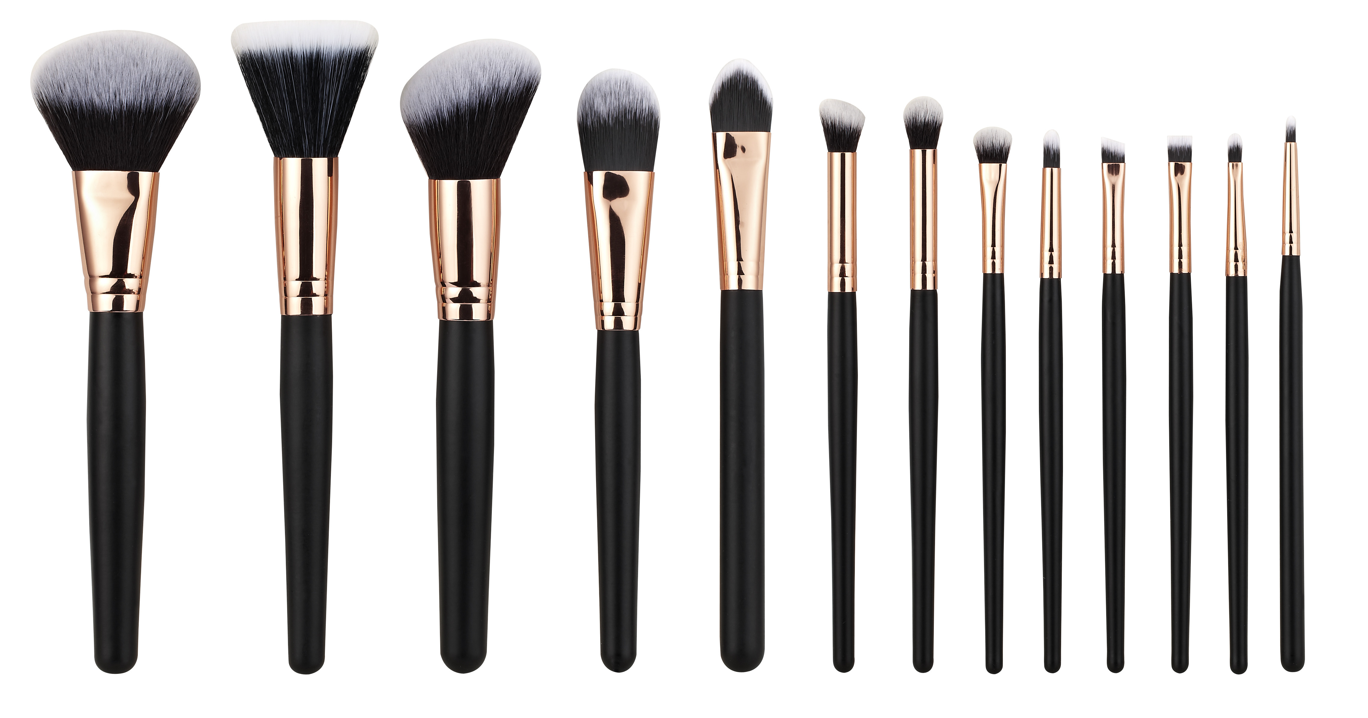 13PCS high end Cosmetic Professional Makeup Brush Set Rose Golden Copper Ferrule