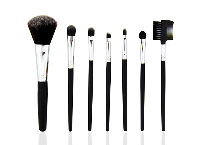 Goat Hair Travel Makeup Brush Set With Pink Pu Bag , Face Makeup Brushes