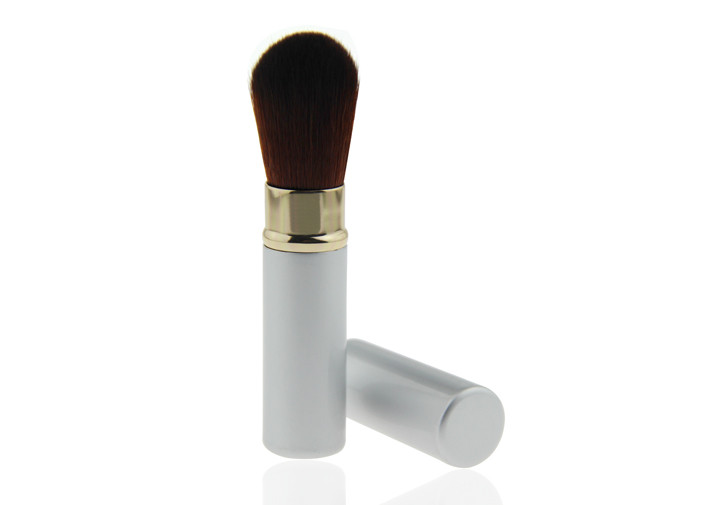 Essential Refillable Retractable Makeup Brush , Silver Powder Makeup Brushes