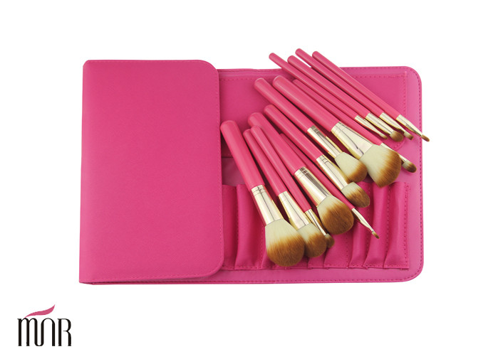 Red Package 13 pieces Makeup Brush Cylinder With Nylon Hair