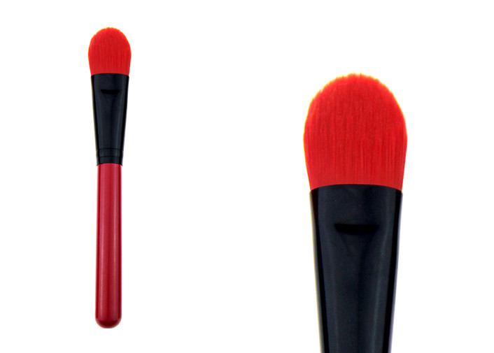 Cosmetic Red Powder Foundation Brush Synthetic Makeup Brushes With Wood Handle